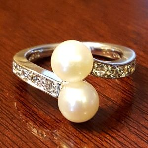 NWOT! ESTATE 925 Cultured Pearl Topaz Ring-sz.6.75